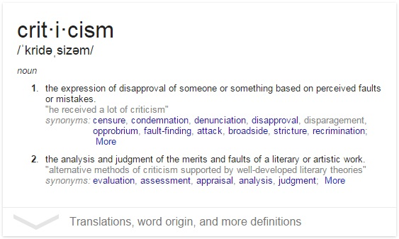 define criticism